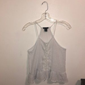 Tops - flowy lace white tank top !!